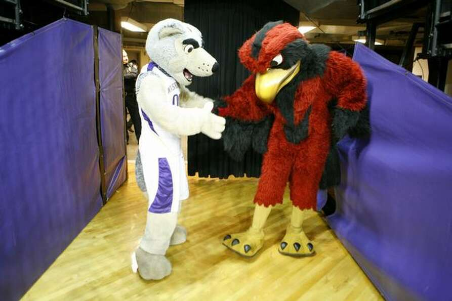 The University of Washington Husky mascot and Seattle University Redhawk mascot meet behind the scen
