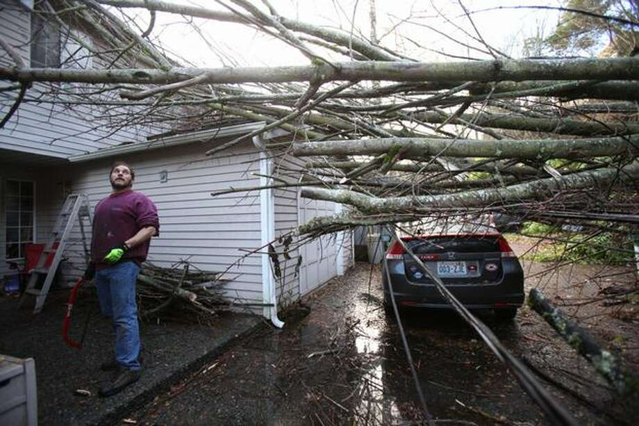 Allan Tencer looks at the daunting task of removing a tree that came crashing onto his house during a landslide on Riviera Place NE along Lake Washington. The slide closed Riviera Place and the Burke-Gilman Trail. Tencer said he woke to to the sound of a hillside coming down in front of his home, bringing down trees and a power pole. Photo: Joshua Trujillo, Seattlepi.com