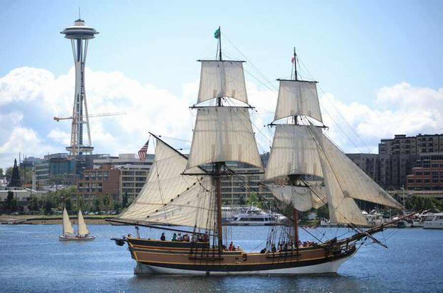 The Lady Washington sails on Lake Union during the 34th annual Lake Union Wooden Boat Festival.