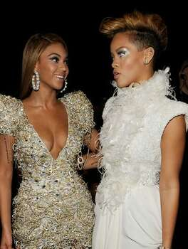 Singers Beyonce Knowles (left) and Rihanna backstage during the 52nd Annual GRAMMY Awards held at Staples Center on January 31, 2010 in Los Angeles, California. Photo: Getty Images