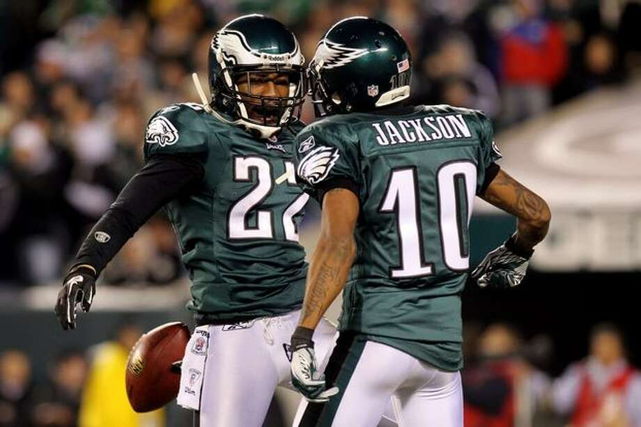 No. 9: Philadelphia Eagles wide receiver DeSean Jackson, who is the only other non-quarterback (after Polamalu) in the top 12 this year. The Eagles are the only team with two players in the top 12. Here, Eagles cornerback Asante Samuel celebrates with Jackson after an interception against the New York Giants on Nov. 21, 2010 at Lincoln Financial Field, in Philadelphia. Photo: Getty Images