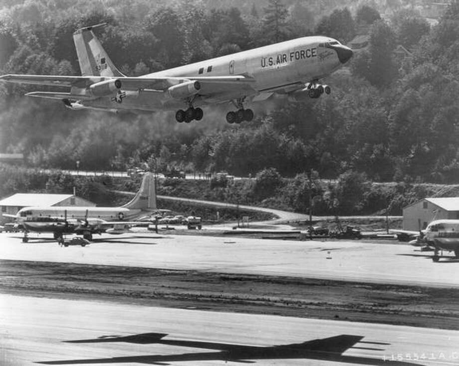 "The U.S. Air Force Boeing KC-135 Stratotanker ""City of Renton"" on its maiden flight in September 1956. Photo: Getty Images"