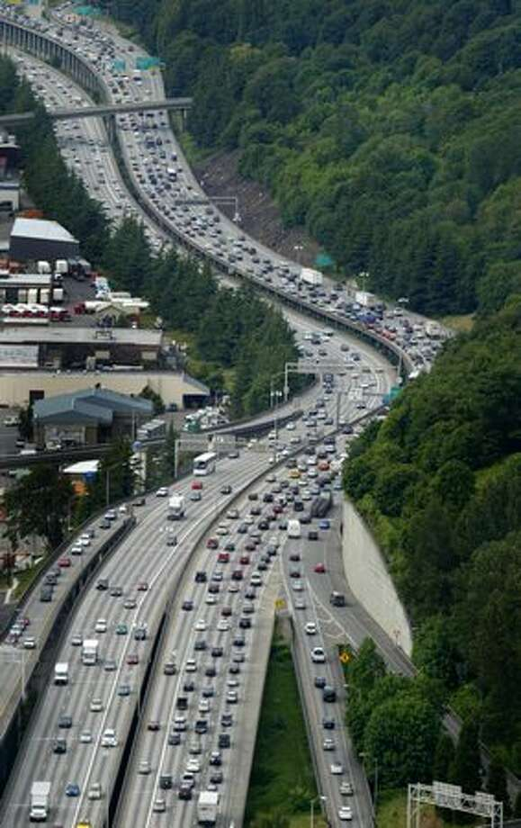 Interstate 5 traffic shown during rush hour looking north near Boeing Field photographed in 2007. (Joshua Trujillo / P-I) Photo: P-I File