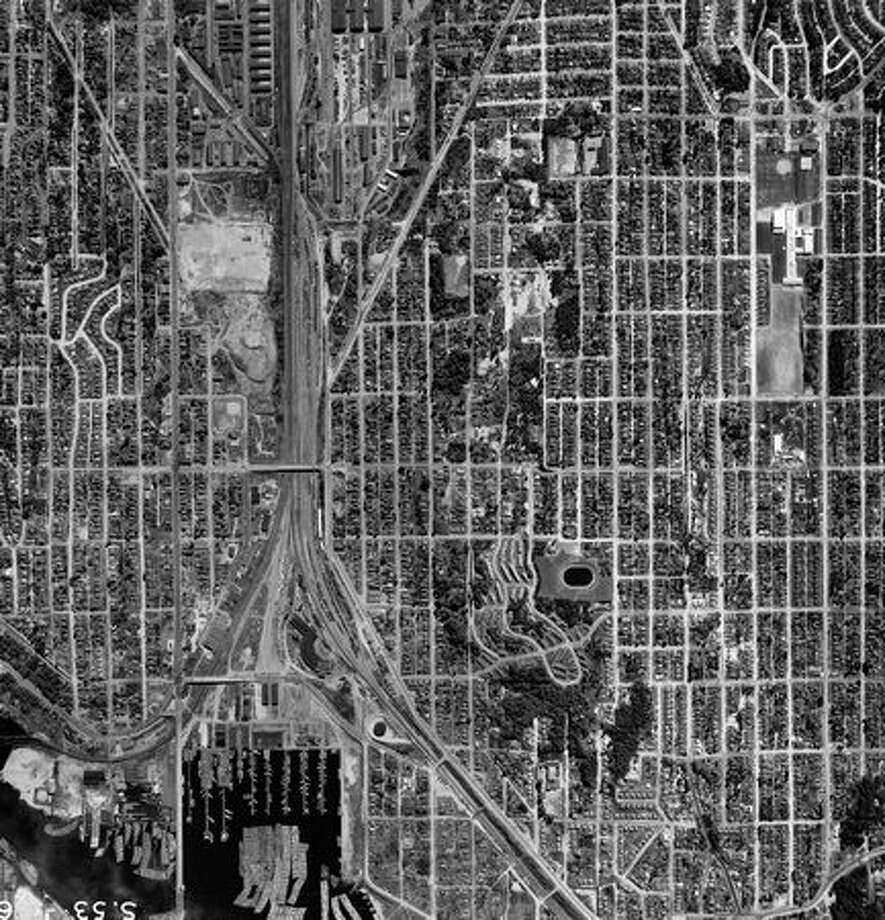 A 1955 aerial photo of downtown Seattle. Photo: P-I File