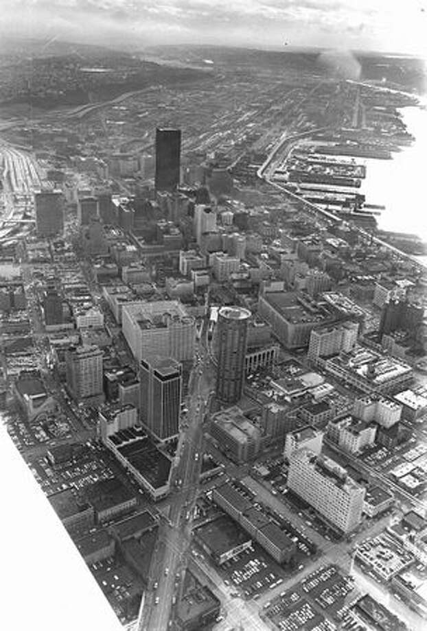 A 1971 view of downtown Seattle. (Paul V. Thomas/P-I) Photo: P-I File