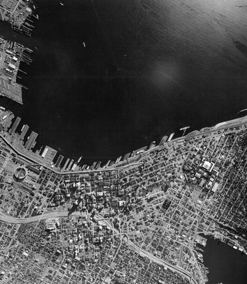 An aerial photo of downtown Seattle and the waterfront taken in 1975 with a NASA high-altitude earth resources airplane. Photo: P-I File