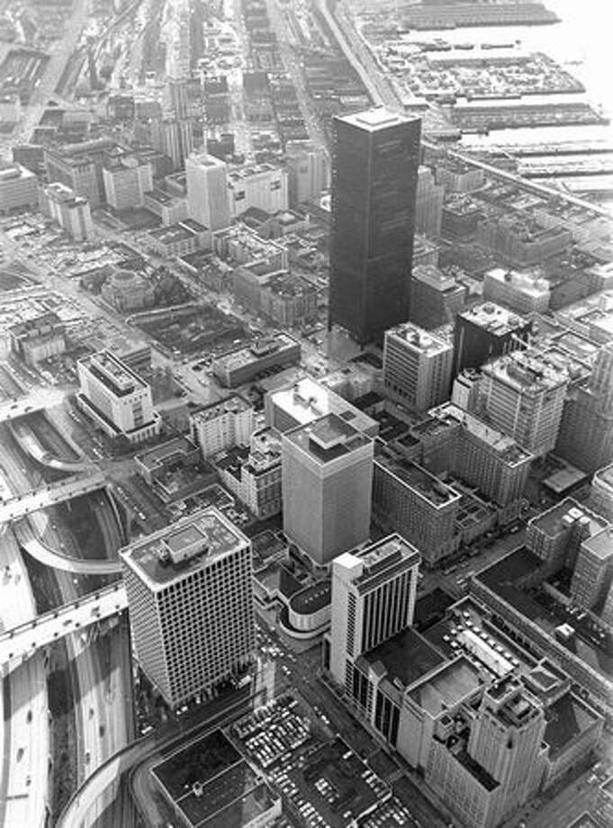 An aerial view of downtown Seattle in March 1972. (Paul V. Thomas/P-I) Photo: P-I File