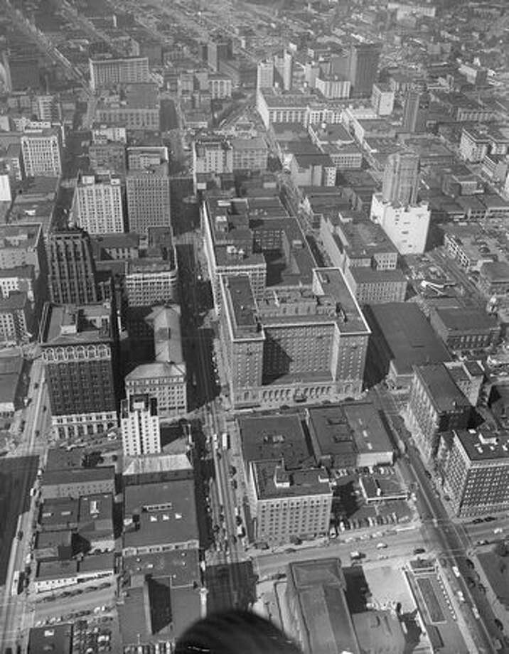 Downtown Seattle in 1953. (James O. Sneddon/P-I) Photo: P-I File