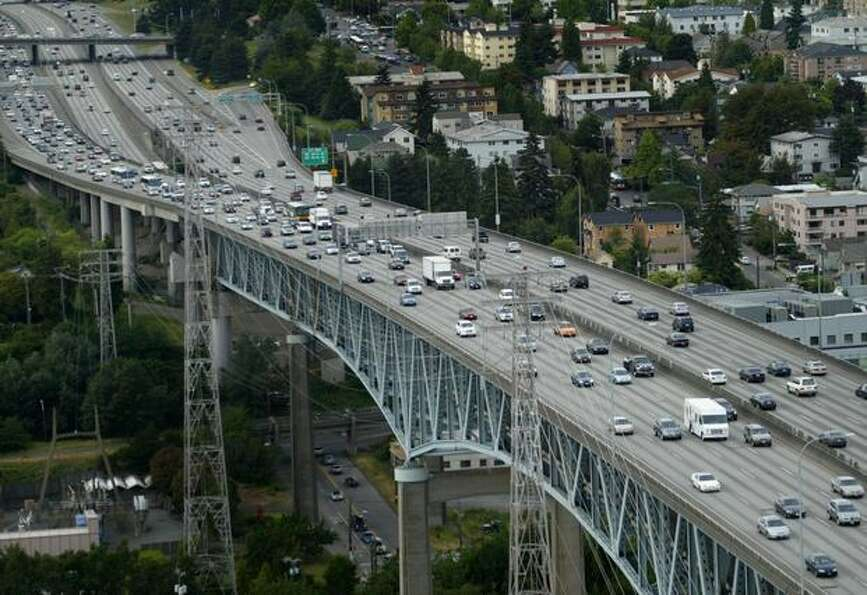 The Interstate 5 Ship Canal Bridge photographed during rush hour in 2007. (Joshua Trujillo / P-I)