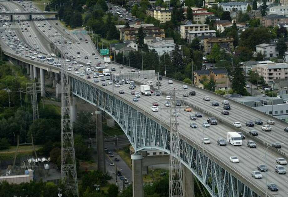 The Interstate 5 Ship Canal Bridge photographed during rush hour in 2007. (Joshua Trujillo / P-I) Photo: P-I File