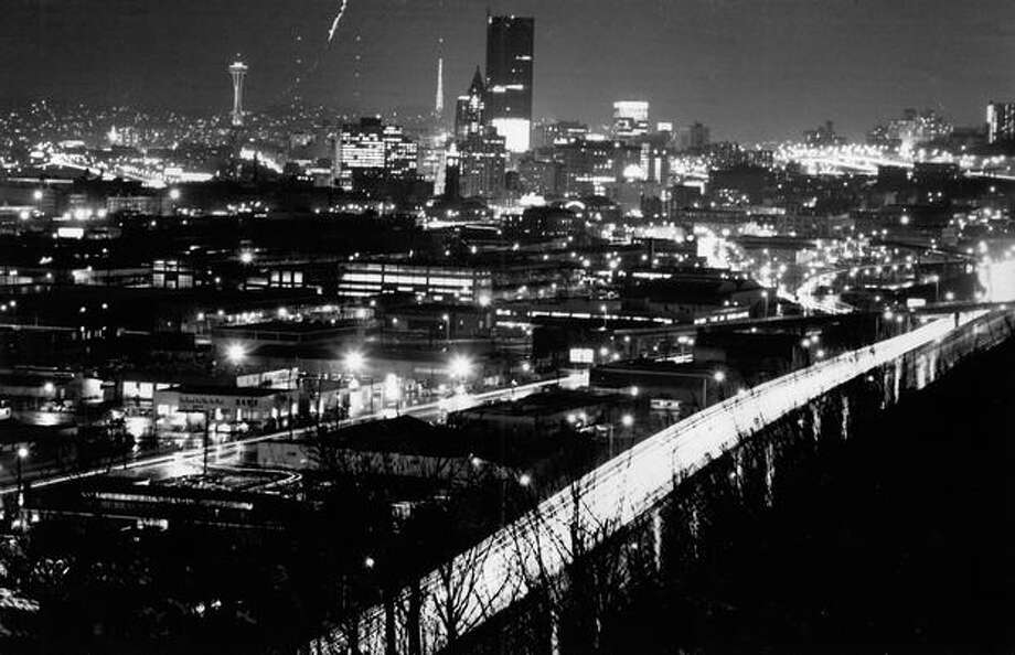 Downtown Seattle at night on January, 14, 1969. Photo: P-I File