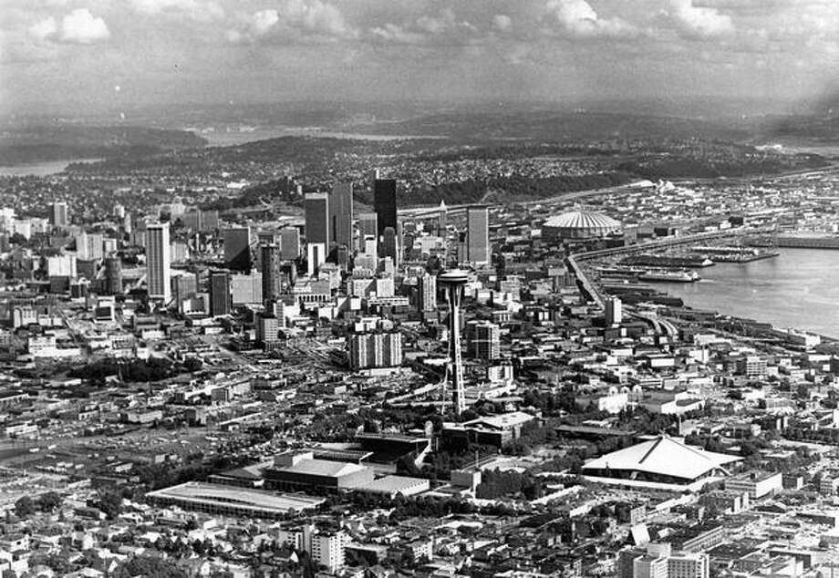 An aerial view of downtown Seattle with the Space Needle in the forefront, 1977. (Grant M. Haller/P-I) Photo: P-I File