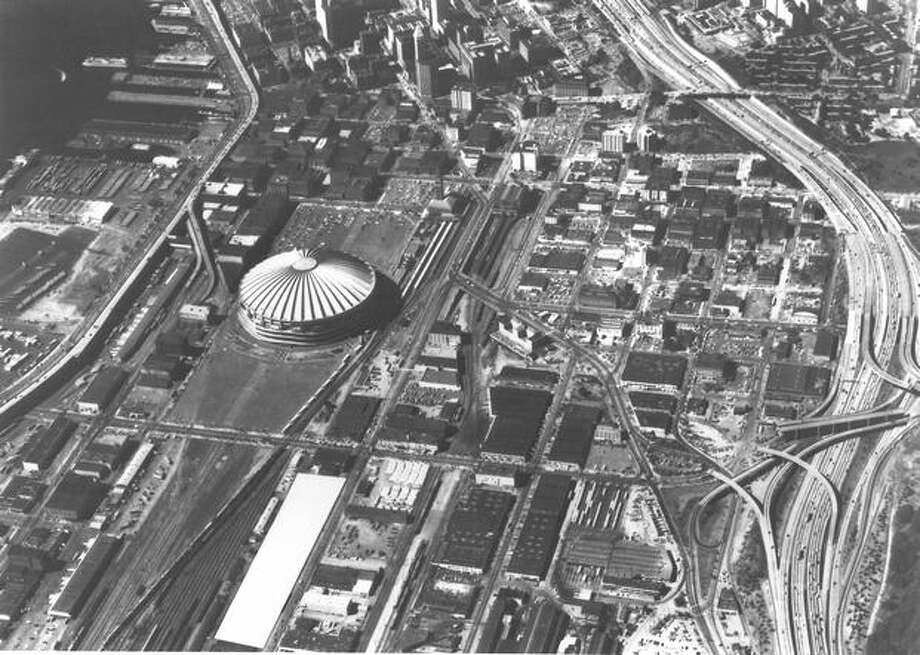An aerial photo of the Kingdome in December 1979. (Alan Hicks/P-I) Photo: P-I File