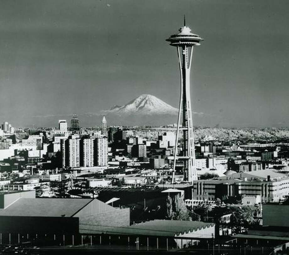 A view of the Space Needle with Mount Rainer in the background taken in 1972, according to notes on the back of the photo. Photo: P-I File