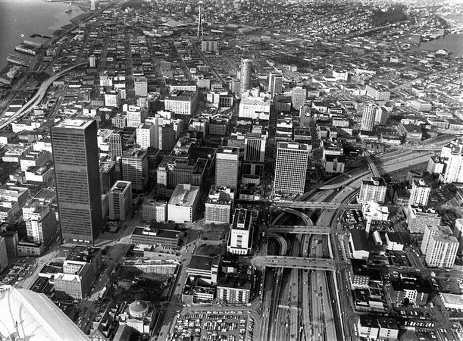 A photo of downtown Seattle in December 1971. Photo: P-I File