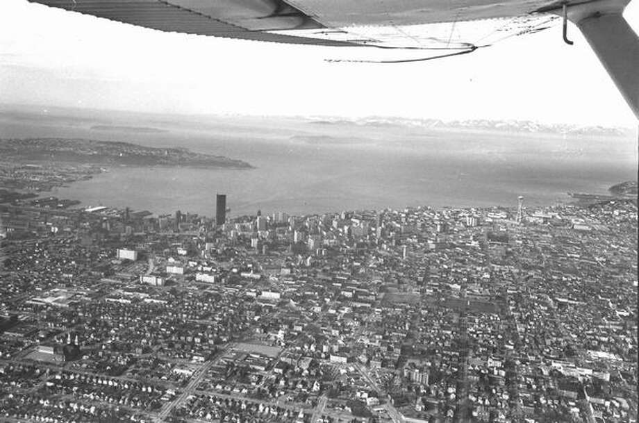 An aerial shot of downtown Seattle in 1975, according to notes on the back of the photo. Photo: P-I File