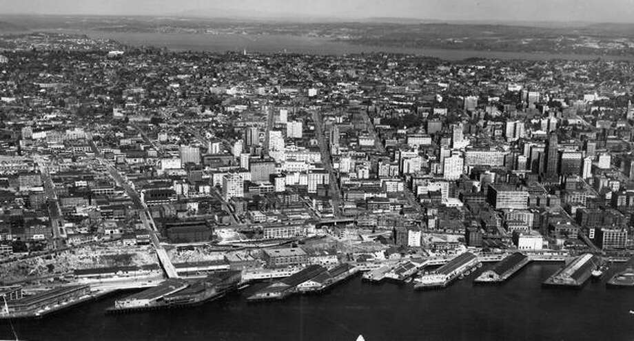 An aerial view of downtown Seattle and the waterfront taken in 1945. Photo: P-I File