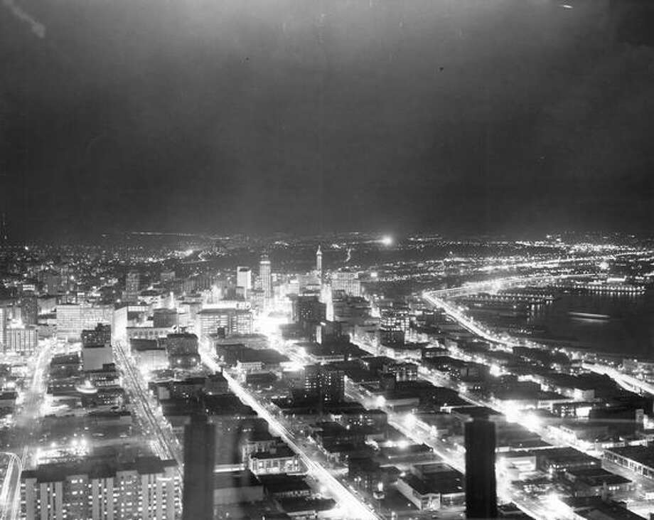 A photo taken of downtown Seattle at night in 1962. Photo: P-I File