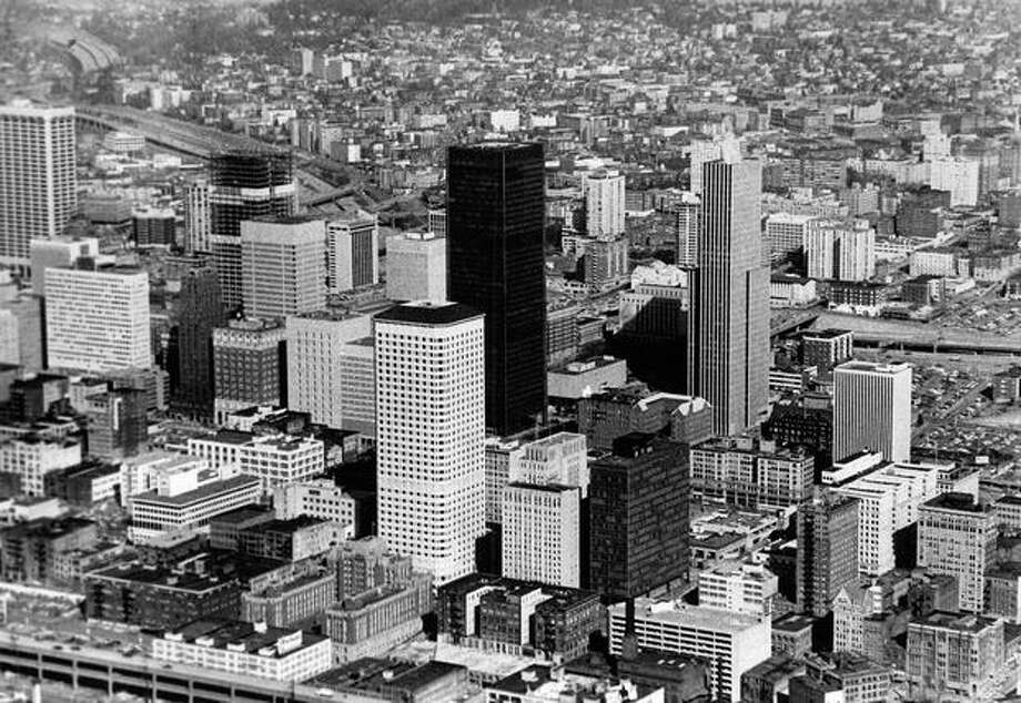A view of downtown Seattle and the Seafirst Building in 1976. (Bob Miller/P-I) Photo: P-I File