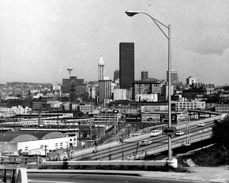 A photo of downtown Seattle, the Seafirst Building, the Smith Tower, the Space Needle and Interstate 5 in 1969. Photo: P-I File