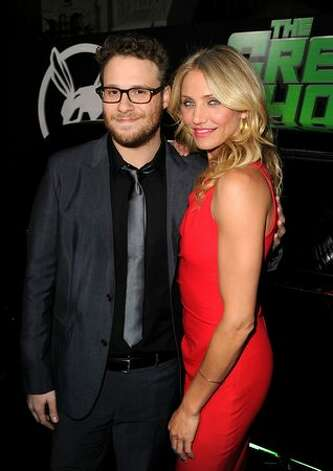 "Executive producer/writer/actor Seth Rogen and actress Cameron Diaz arrive at Columbia Pictures' ""The Green Hornet"" premiere at Grauman's Chinese Theatre in Hollywood, California. Photo: Getty Images"