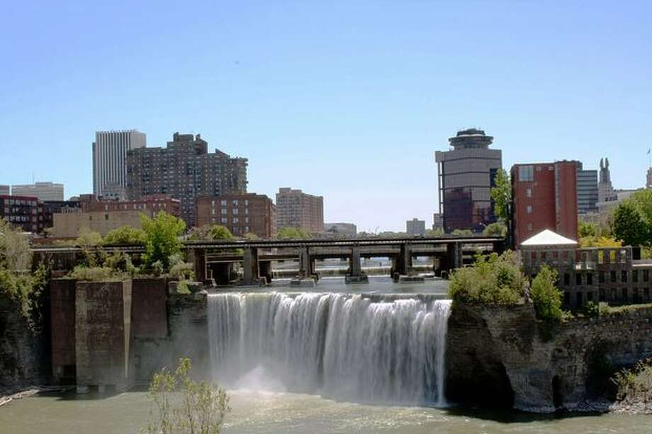 No. 8: Rochester, N.Y.  Here, Rochester's High Falls are pictured on May 25, 2008. (Evilarry/Wikimedia Commons)