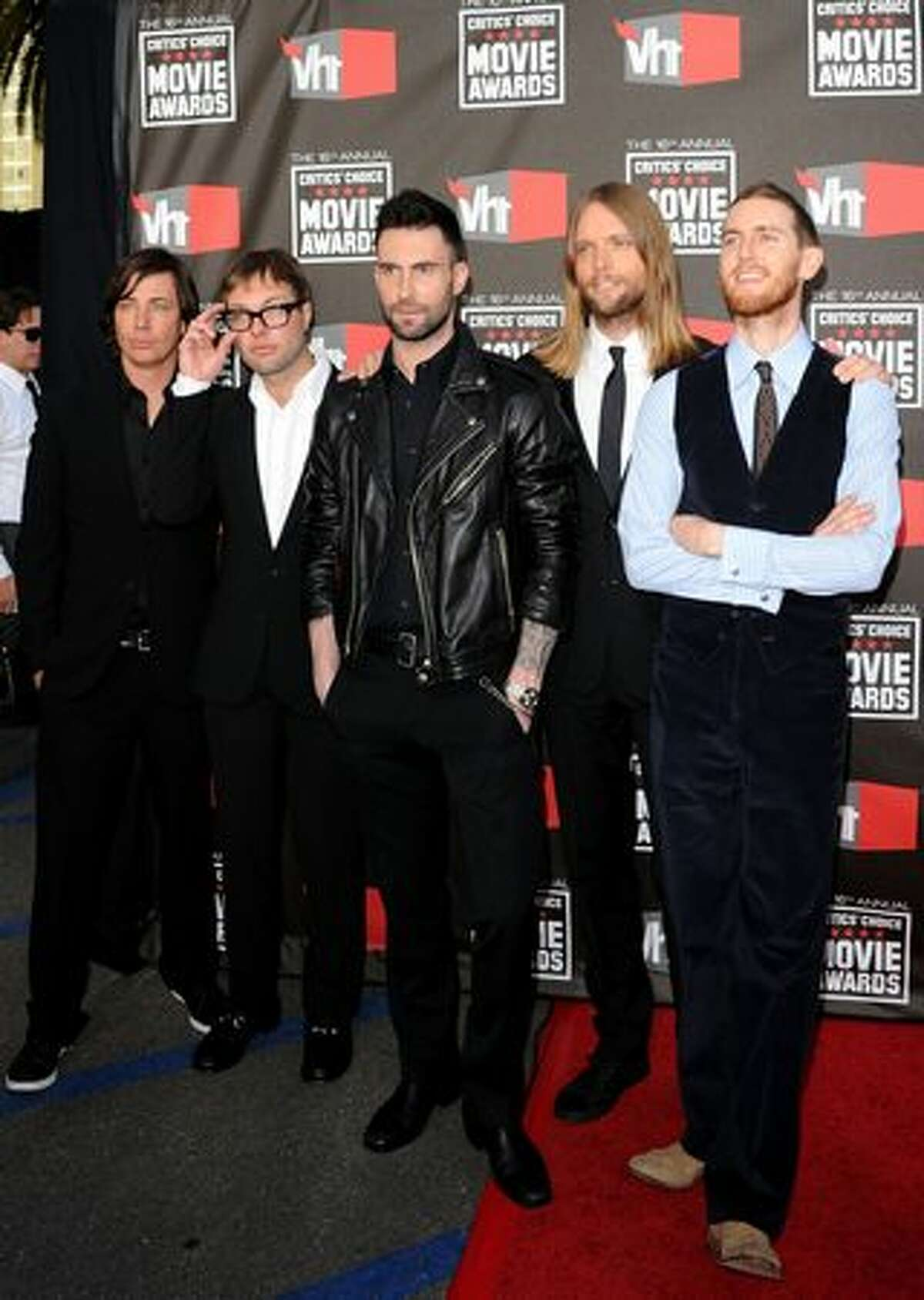 (L-R) Musicians Matt Flynn. Mickey Madden. Adam Levine, James Valentine, and Jesse Carmichael from the musical group Maroon 5 arrives.