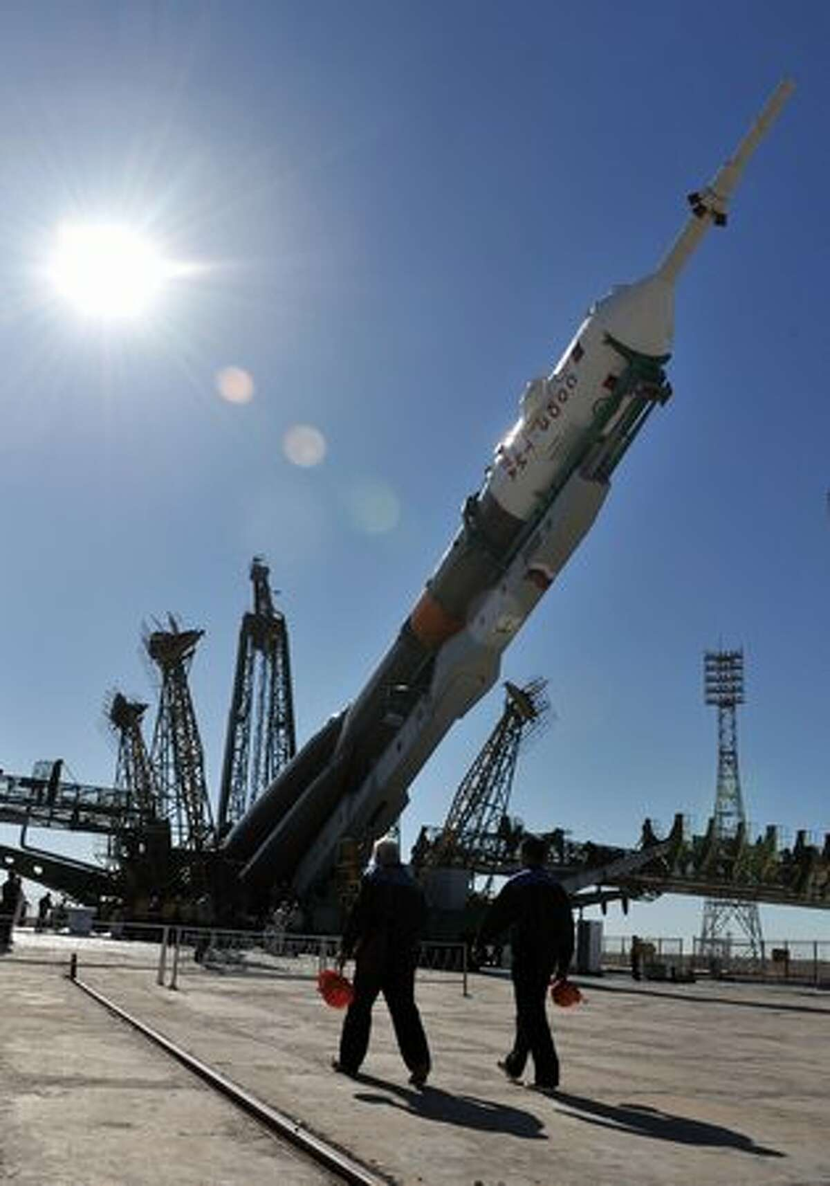 Russian Soyuz TMA-19 spacecraft is installed on its launch pad at the Baikonur Cosmodrome in Kazakhstan.