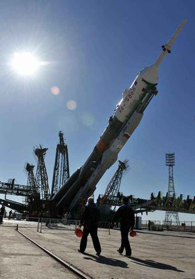 Russian Soyuz TMA-19 spacecraft is installed on its launch pad at the Baikonur Cosmodrome in Kazakhstan. Photo: Getty Images