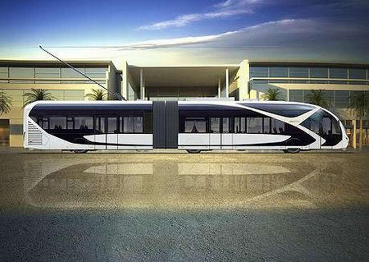 A concept for a trolley bus in Riyadh, Saudi Arabia.