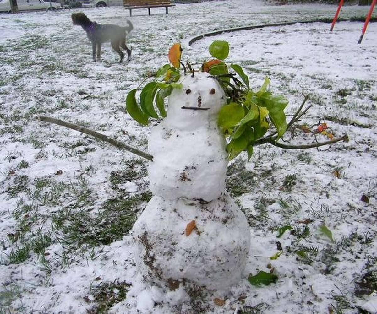 A dog stands behind a snowman in Gillman Park in Seattle on Monday.
