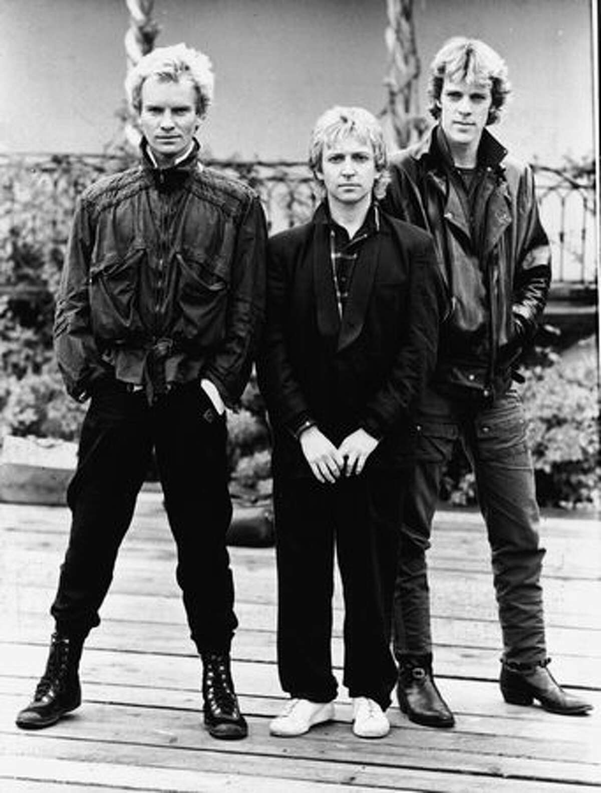 A promotional portrait of the British rock band The Police (from left): Sting, Andy Summers, and Stewart Copeland, circa 1980.