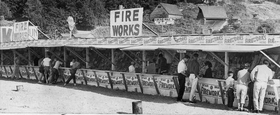 A Mercer Island fireworks stand on June 28, 1961. Photo: P-I File