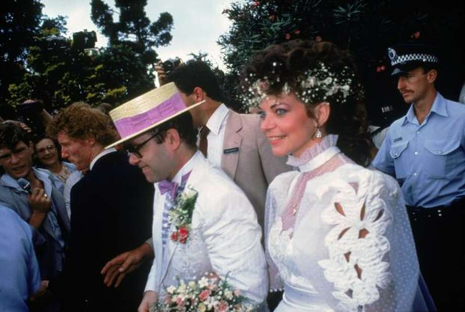 British pop star Elton John marries sound engineer Renate Blauel in Sydney, 14th February 1984. Photo: Getty Images