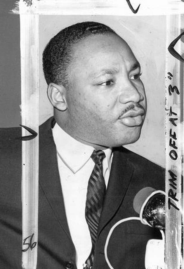 This image from November 1961 is said to have been taken in Seattle at one of Dr. Martin Luther King Jr.'s three speeches here. Marks were made by a P-I photo editor. (seattlepi.com file) Photo: P-I File