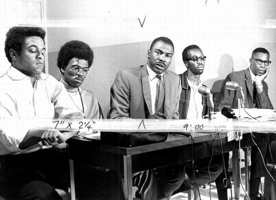 The photo, dated July 1968, shows from left: Michael Ross, Bruce Hayes, Charles Johnson, Chester Northington and Walter Hundley. Additional information isn't given. (seattlepi.com file) Photo: P-I File