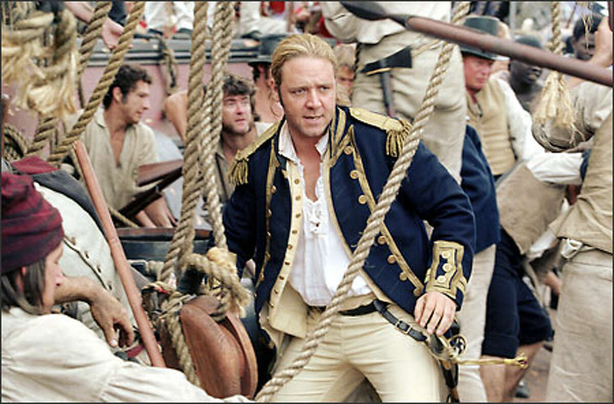 Capt. Jack Aubrey (Russell Crowe) wages a fierce battle against enemy forces.