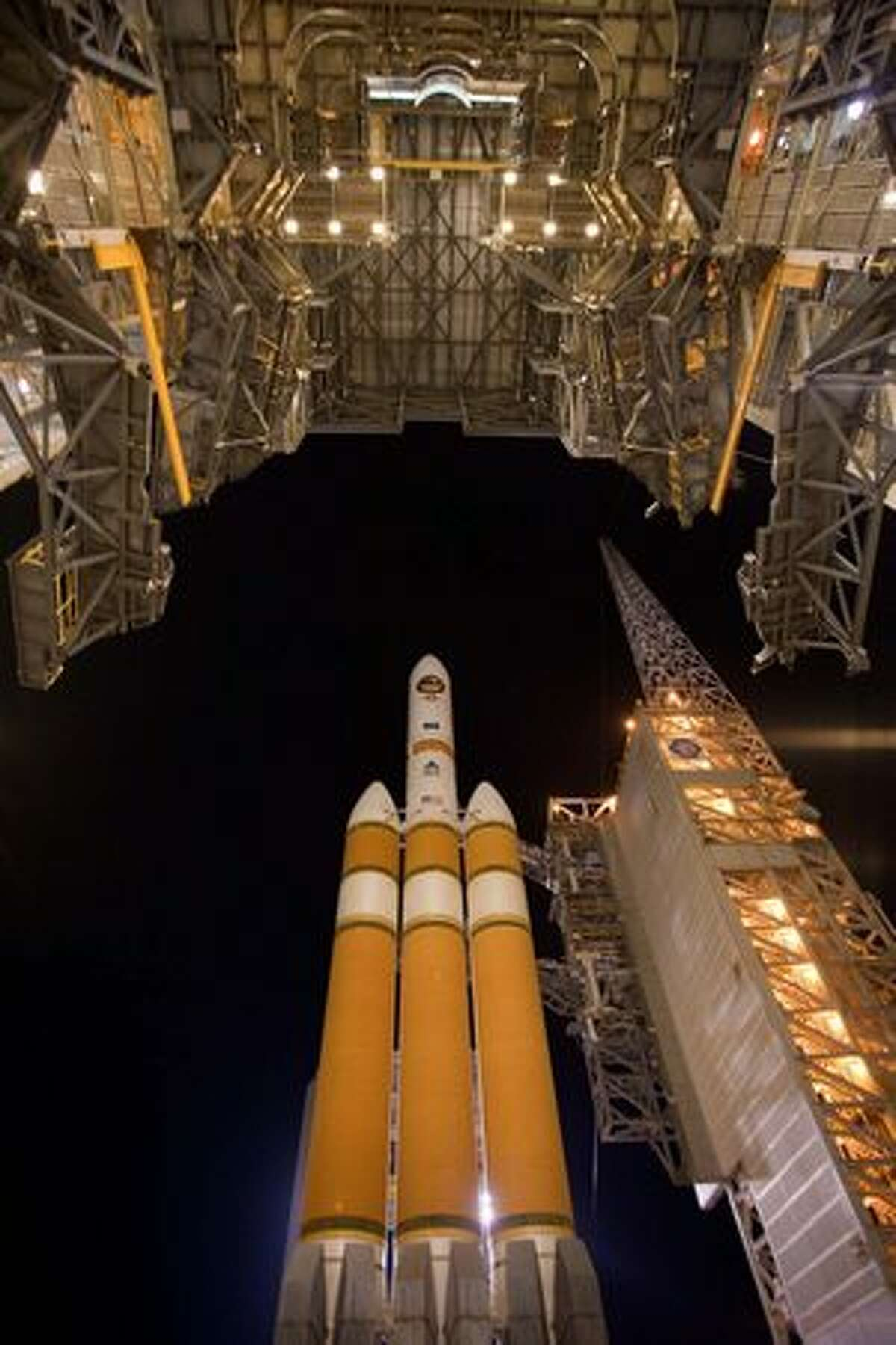 A United Launch Alliance Delta IV rocket sits on the launch pad at Vandenberg Air Force Base, Calif. (Pat Corkery/United Launch Alliance)