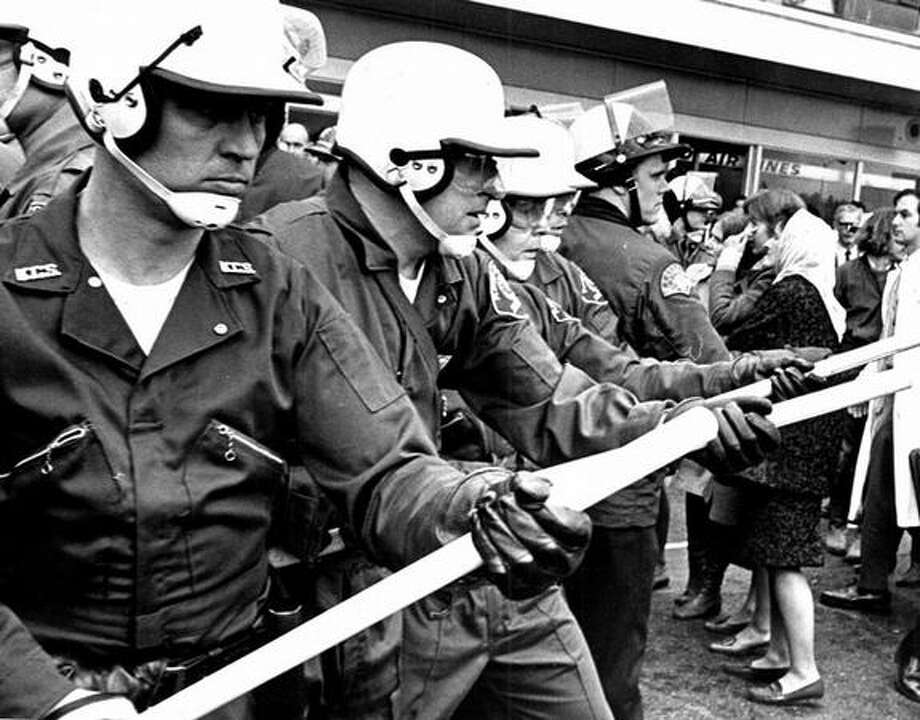 An Oct. 1969 photo from a demonstration at Sea-Tac International Airport. (seattlepi.com file) Photo: P-I File