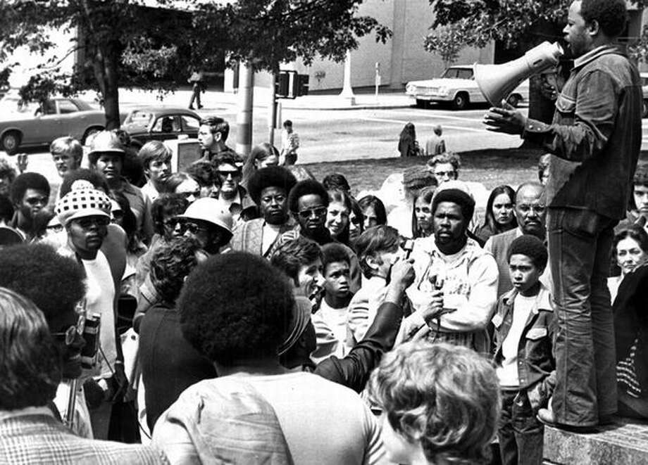 "The photo caption for this previously unpublished June 15, 1972 P-I photo reads: Tyree Scott, head of the United Construction Workers, told the crowd any delay by a federal judge in ruling on UWCA participation in recruiting and dispatch of minorities ""is a defeat for us."" (seattlepi.com file) Photo: P-I File"