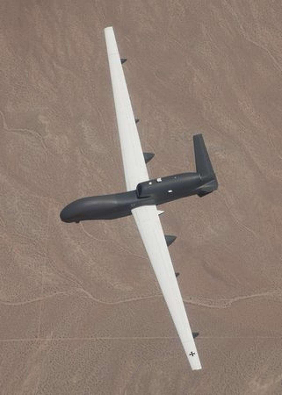 The Euro Hawk unmanned reconnaissance aircraft on its maiden flight from Northrop Grumman's Palmdale, Calif., manufacturing plant. (Northrop Grumman)