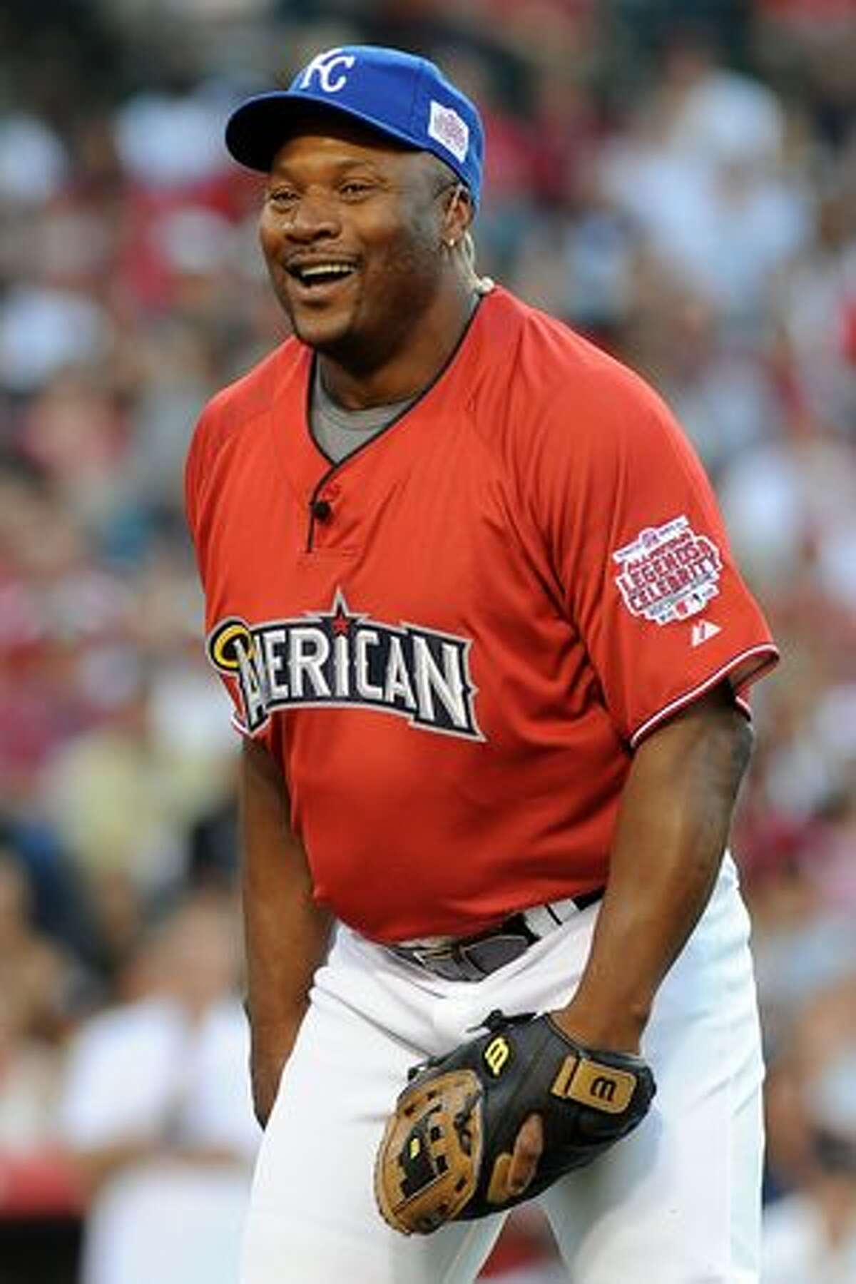 Former MLB Player Bo Jackson during the MLB All Star Game Celebrity Softball Game at Angels Stadium in Anaheim, California.