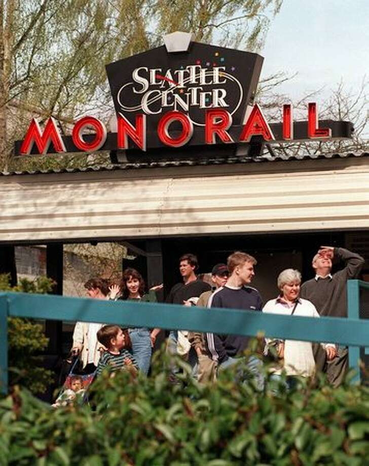 Entrance to monorail station at the Seattle Center. Date unknown. Photo: P-I File