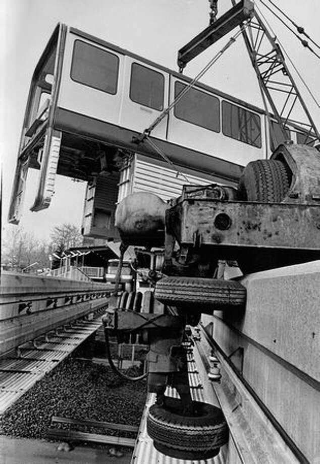 The Monorail going back on track, March 1973. Photo: P-I File