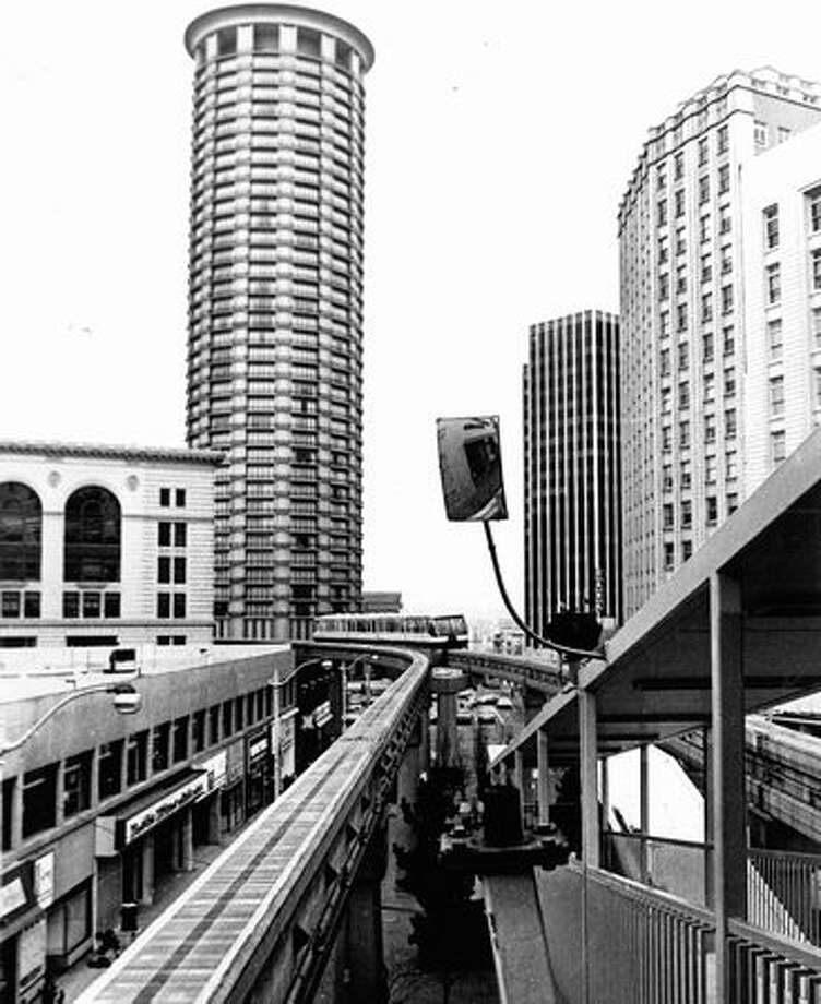 The April 8, 1974 photo caption read: Popular with both visitors and city residents, Seattle's monorail whisks riders to the Seattle Center from Westlake Mall in just 90 seconds. Photo: P-I File