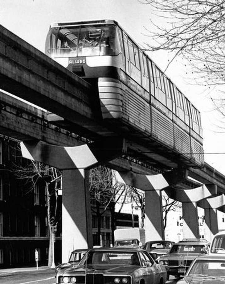 The 1974 caption read: An initiative proposal would expand Seattle's downtown Monorail system. Photo: P-I File