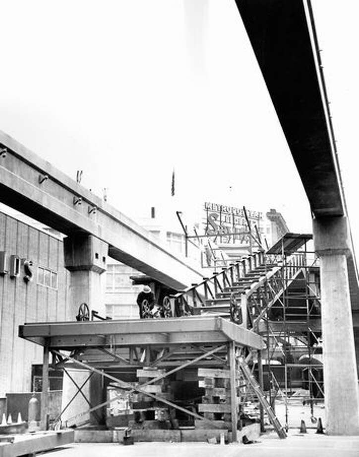 The Westlake Monorail station construction, Dec. 27, 1961. Photo: P-I File