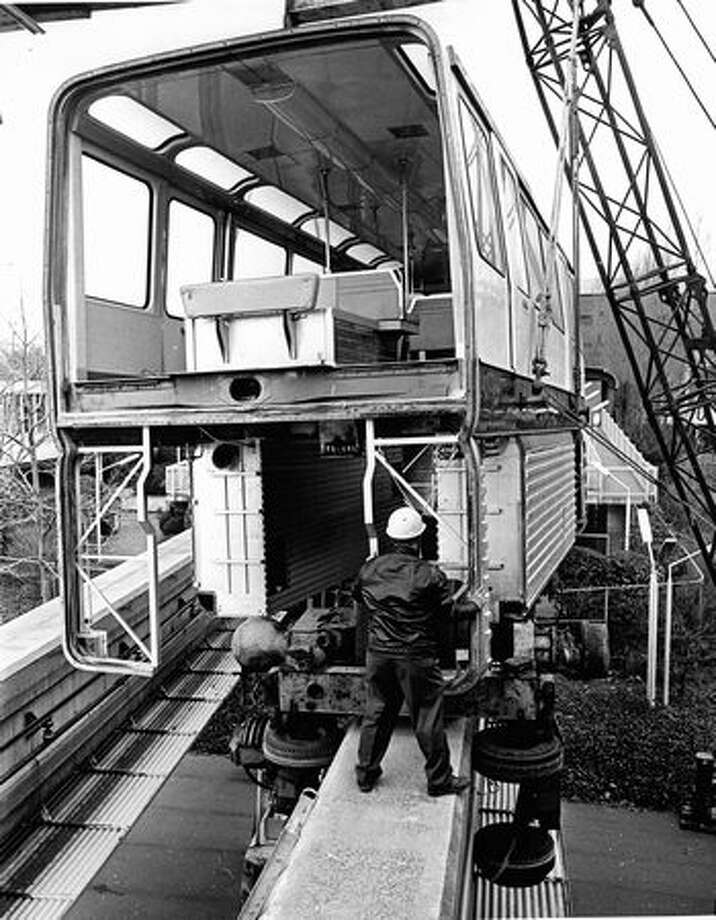 Monorail repair work in March 1973. Photo: P-I File