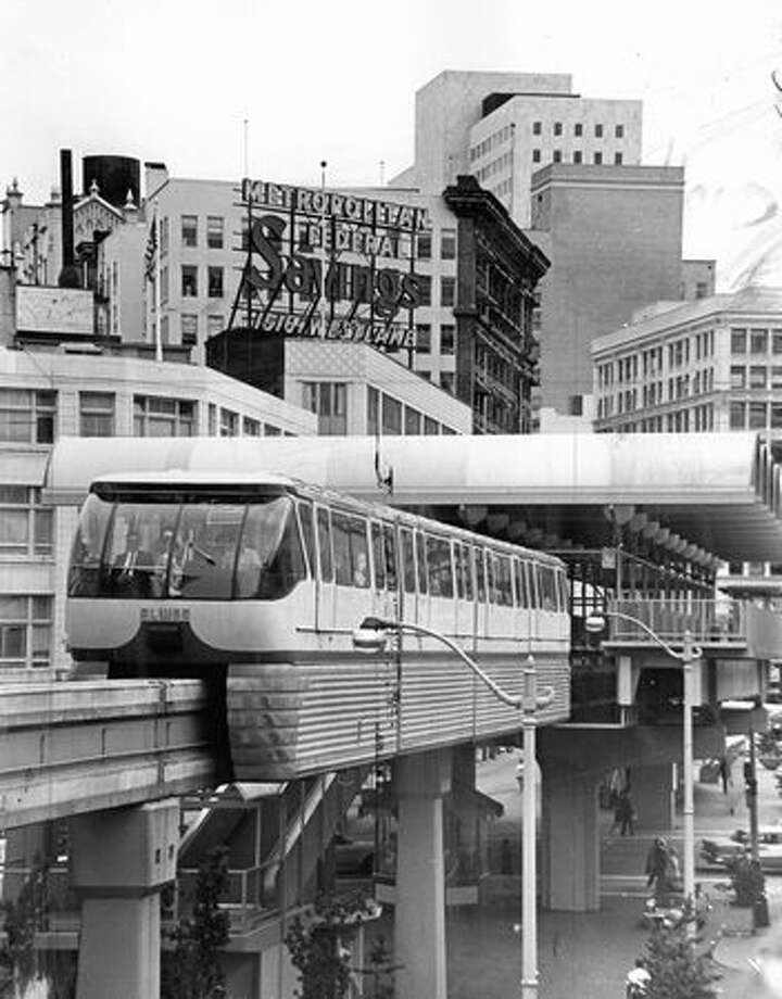 Downtown office workers take advantage of the monorail's trip to Seattle Center for a lunchtime change of scene, June 30, 1967. Photo: P-I File