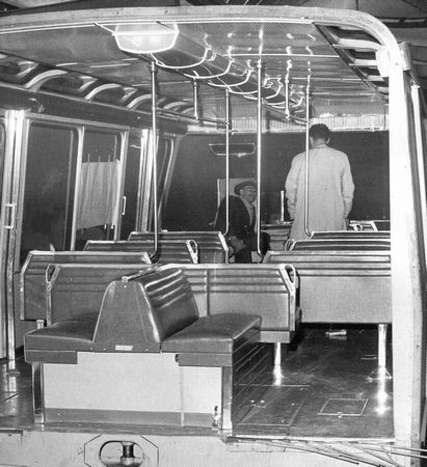 The inside of a Monorail car, February 1962. Photo: P-I File